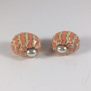 Vintage CINER enamel earrings with Faux Pearl